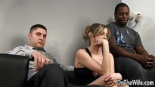 White girl bangs black wife