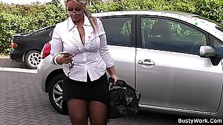 Chubby Blonde Nympho Spreads Legs