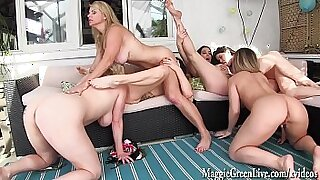 Two Housewives having lesbian orgy with their guys and sex