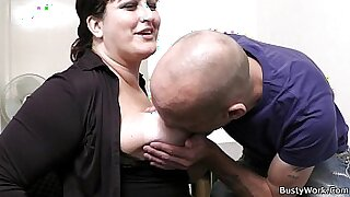 office secretary with big tits straponfucked