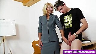 Mommy Busts on teachers cock