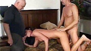 Swinger big booty brunette milf fucked by old man