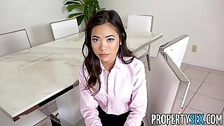 Asian petite secretary Athena Bellos fucked after table fucks
