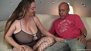 Hawt brunette with big tits rides her fat cock