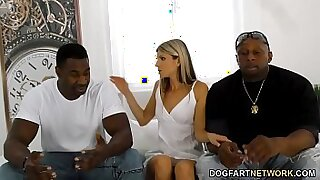 Ebony gf cleans office with her long cock