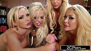 Wanking blonde in office gangbang